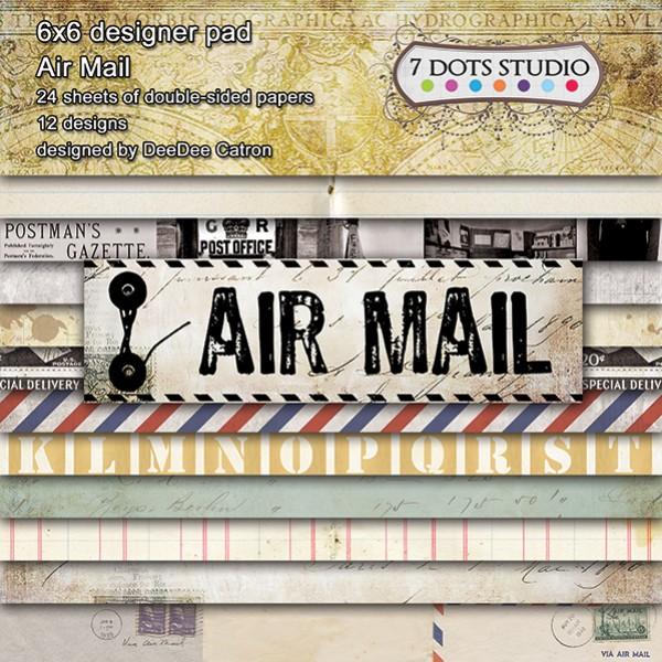 "Набор бумаги из коллекции ""Air Mail"" 12 листов от магазина ScrapMan.ru"