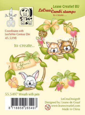 "Набор штампов ""Wreath with pets"" от Leane Creatief"