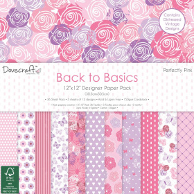 "Набор бумаги ""Back To Basics Perfectly Pink"" 12 листов"