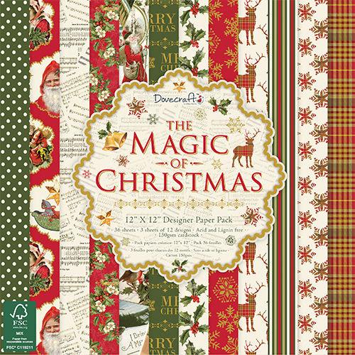 "Набор бумаги ""The Magic Of Christmas"" 12 листов от магазина ScrapMan.ru"